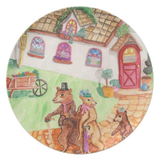 The Three Bears Go To Town Melamine Plate