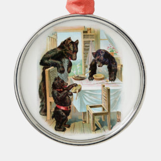 The Three Bears Round Metal Christmas Ornament