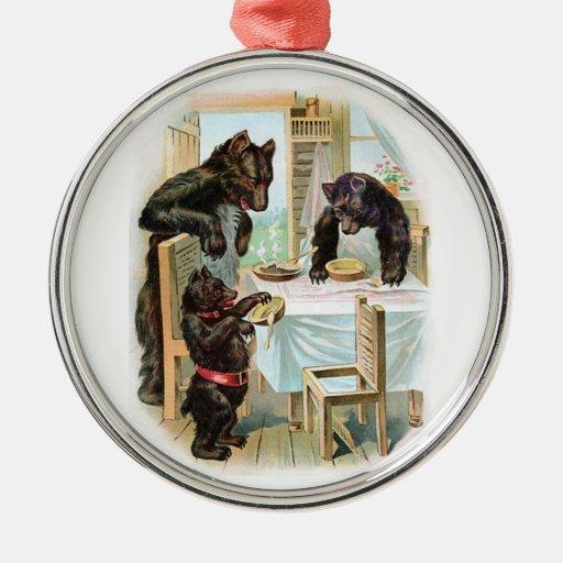 The Three Bears Round Metal Christmas Ornament
