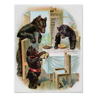 """""""The Three Bears"""" Vintage Poster"""