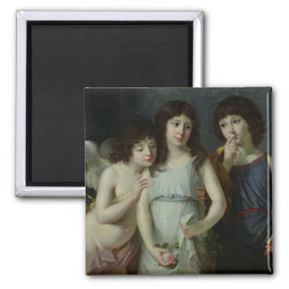 The Three Children of Monsieur Langlois 2 Inch Square Magnet