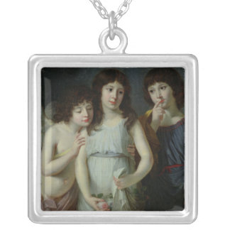 The Three Children of Monsieur Langlois Square Pendant Necklace