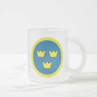 The Three Crowns of Sweden 10 Oz Frosted Glass Coffee Mug