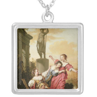 The Three Daughters of Cecrops Square Pendant Necklace
