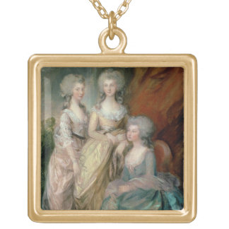The three eldest daughters of George III: Princess Square Pendant Necklace