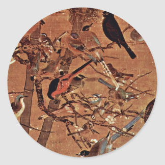 The Three Friends And A Hundred Birds By Pien Classic Round Sticker