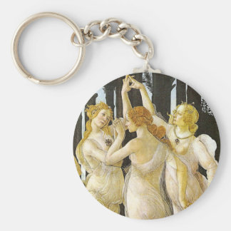 The Three Graces by Sandro Botticelli Basic Round Button Keychain