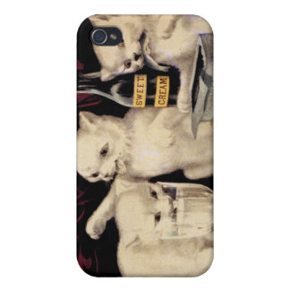 The Three Greedy Kitties At The Feast Currier Ives iPhone 4 Covers