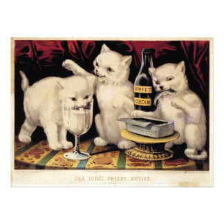 The Three Greedy Kitties At The Feast Currier Ives Photo Print