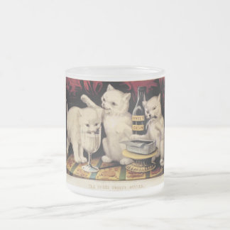 The Three Greedy Kitties At The Feast Ives Frosted Glass Coffee Mug