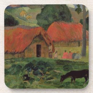 The Three Huts, Tahiti, 1891-92 (oil on canvas) Beverage Coaster