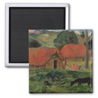 The Three Huts, Tahiti, 1891-92 (oil on canvas) Magnet