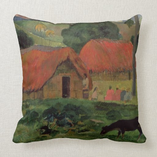The Three Huts, Tahiti, 1891-92 (oil on canvas) Throw Pillows