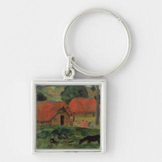 The Three Huts, Tahiti, 1891-92 (oil on canvas) Silver-Colored Square Keychain