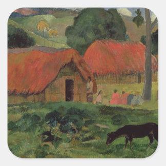 The Three Huts, Tahiti, 1891-92 (oil on canvas) Square Sticker