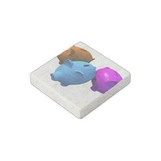 The Three Little Piggy Banks Stone Magnet