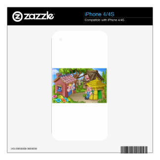 The Three Little Pigs Fairytale Scene Decal For The iPhone 4