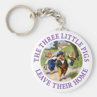 The Three Little Pigs Leave Their Home Basic Round Button Keychain