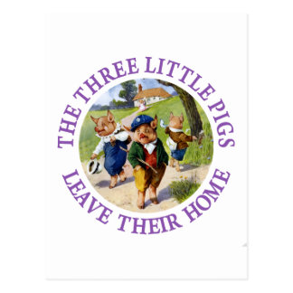 The Three Little Pigs Leave Their Home Postcard