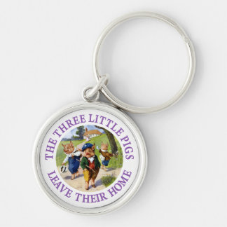The Three Little Pigs Leave Their Home Silver-Colored Round Keychain