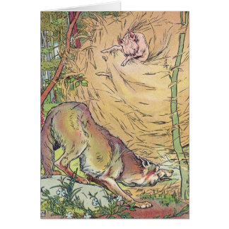 The Three Little Pigs Straw House Fairy Tale 1904 Card