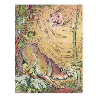 The Three Little Pigs Straw House Fairy Tale 1904 Postcard