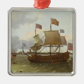 The Three-Master 'Britannia' in Rotterdam, 1698 Metal Ornament