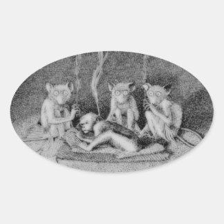 The Three Mulla-Mulgars Oval Sticker