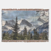 The Three Sisters - Canadian Rocky Mountains Throw Blanket