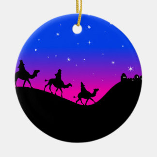 The Three Wisemen Double-Sided Ceramic Round Christmas Ornament