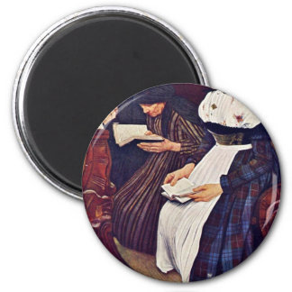 The Three Women In The Church By Leibl Wilhelm Fridge Magnets