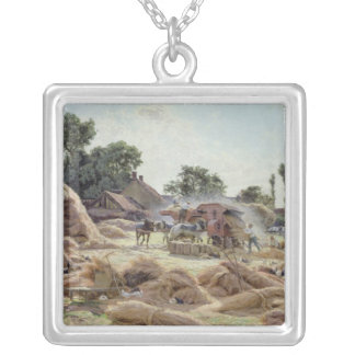 The Threshing Machine  1896 Silver Plated Necklace