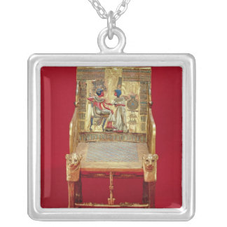 The throne, from the Tomb of Tutankhamun Silver Plated Necklace