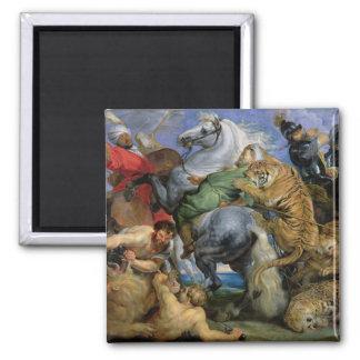 The Tiger Hunt, c.1616 2 Inch Square Magnet