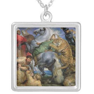 The Tiger Hunt, c.1616 Square Pendant Necklace