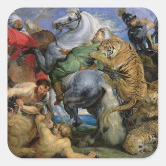 The Tiger Hunt, c.1616 Square Sticker