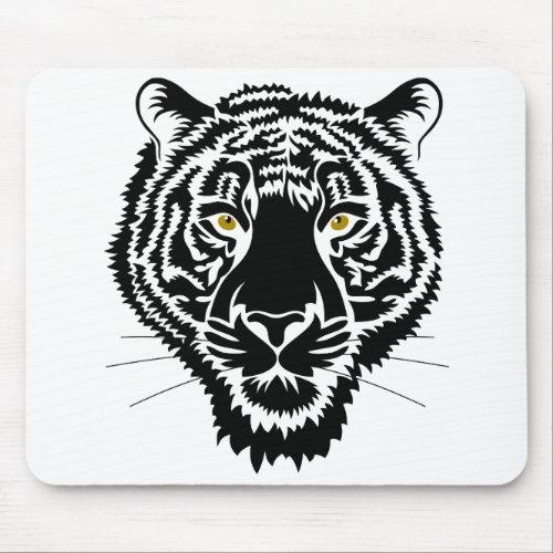 The tiger portrait _ black sketch mouse pad
