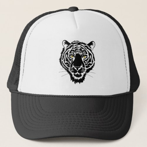 The tiger portrait _ black sketch trucker hat