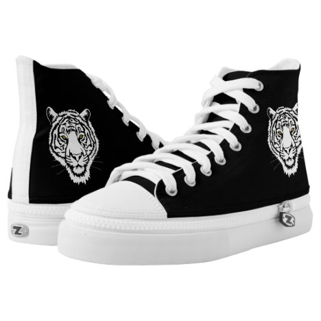 The tiger portrait - white sketch. High-Top sneakers