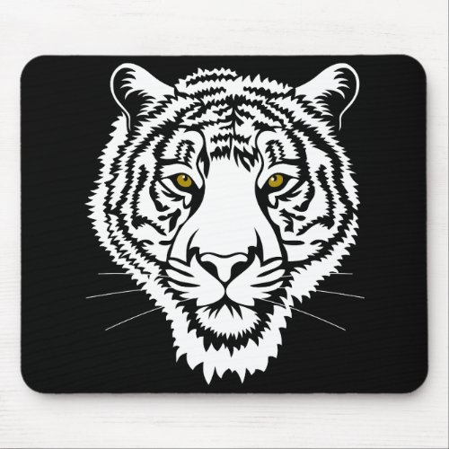 The tiger portrait _ white sketch mouse pad