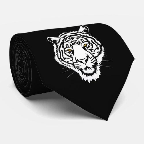 The tiger portrait _ white sketch neck tie