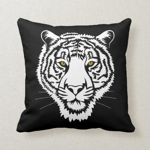 The tiger portrait _ white sketch throw pillow