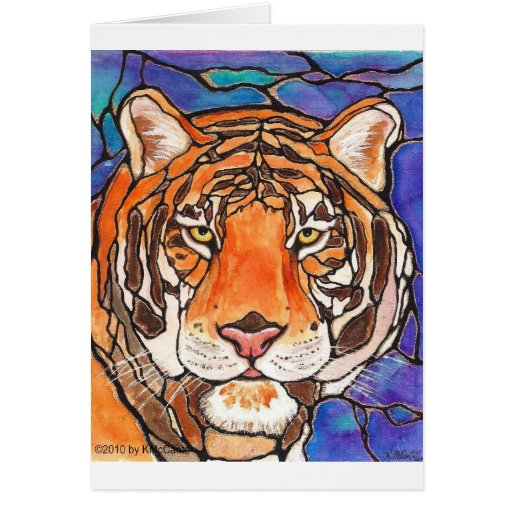 The Tiger Stained Glass/mosaic Art Many products!! Card