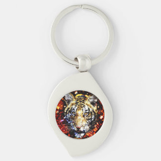 The tiger volcano Silver-Colored swirl metal keychain