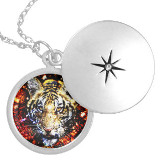 The tiger volcano silver plated necklace