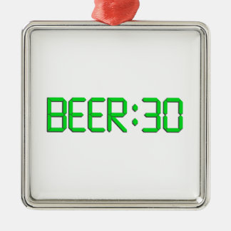 The Time Is Beer 30 Square Metal Christmas Ornament