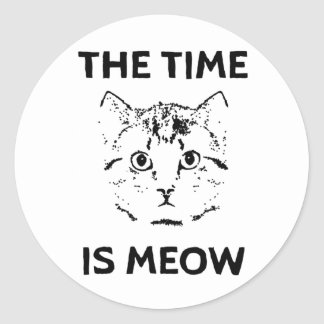 The Time is Meow Classic Round Sticker