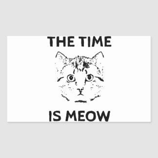 The Time is Meow Rectangular Sticker