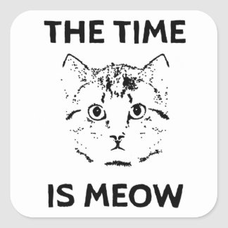 The Time is Meow Square Sticker