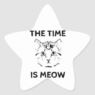 The Time is Meow Star Sticker